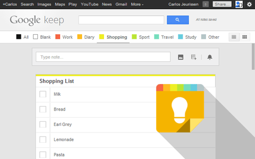 Category Tabs for Google Keep