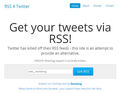 TwitterアカウントのRSS生成