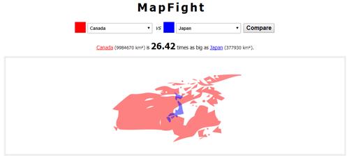 国の大きさを地図で比較