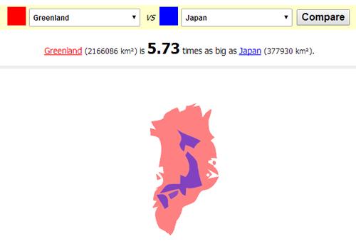 グリーンランドと日本を比較