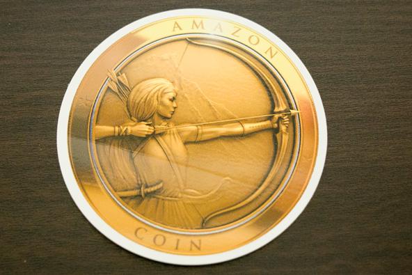 Amazonコインのステッカー。仮想通貨なので本物のAmazonコインの実態はありません。