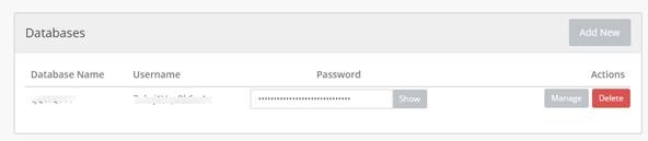 作成したデータベースの情報。作成できるデータベースの数は無制限です。