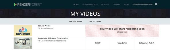動画の管理画面で動画テンプレートや自分の動画を管理
