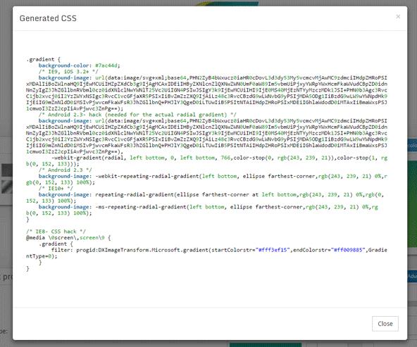 「Get CSS」ボタンを押すとCSSが生成されます。