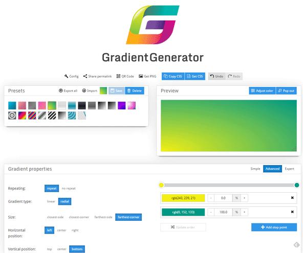 プリセットからグラデーションのパターンを選ぶだけでグラデーションのCSSを生成。