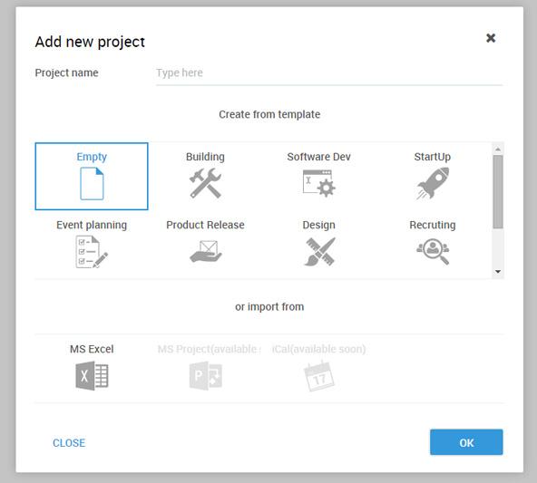 新規作成時に、採用活動やプロダクトリリースなどのテンプレートを選択して作成することも可能。見本を参考にしながら作成することもできます。