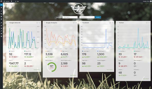 SkyStatsのデータサマリ表示画面。