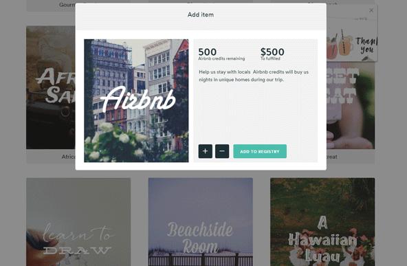 ギフトを設定する画面。Airbnbのクレジットやディズニーランドのチケットなんてものも用意されています。
