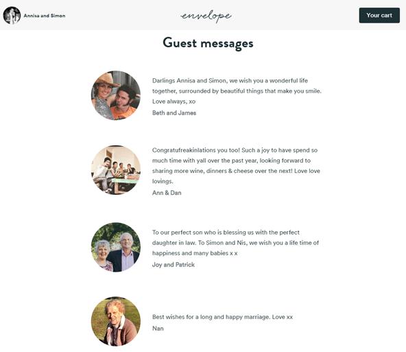 サイト上にゲストのメッセージが並ぶ。