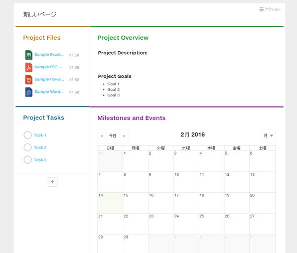プロジェクト管理のテンプレートを選択して作成したプロジェクトの概要を伝える画面。